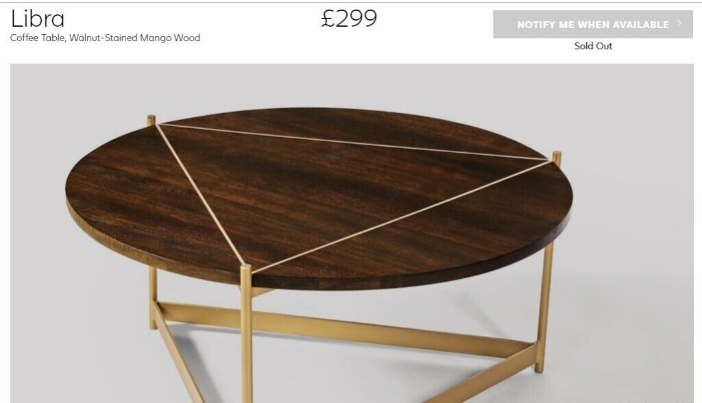 New Swoon Editions Libra Coffee Table Mango Wood And Brass Gold Round In Leytonstone London Gumtree