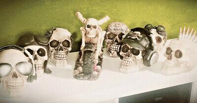 Skull  Cyborg Pilot Statue Figurine Human Skeleton Head Halloween - Skeleton Heads