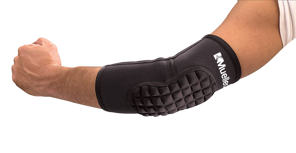 **NEW** Mueller SHOKK Protective Sports Elbow Pads - 1 x pair Black