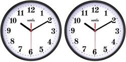 2Pack Silent Non Ticking Quartz Wall Clock Battery Operated 10 Inch Round Easy