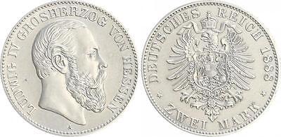 2 Mark Silber 1888 A Hessen Ludwig IV.  vorzüglich