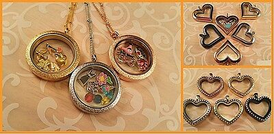 Stainless Steel Floating Charm Locket w/ Chain + Origami Owl Accent Stone