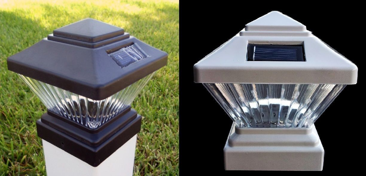 2-Pack Black or White 4x4 Square Solar Post Cap PVC Vinyl De