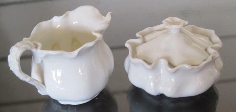 Vintage White Porcelain Individual Sugar and Creamer