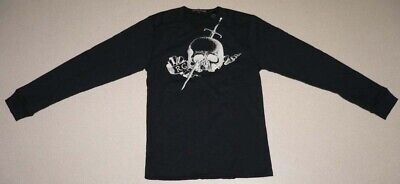 ROGUES GALLERY Skull Print shirts made in Portugal men S size Navy
