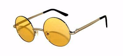 Retro Round Vintage Tint Sunglasses Yellow Lens Gold Metal Frame Spring (Sunglasses Yellow Tint)