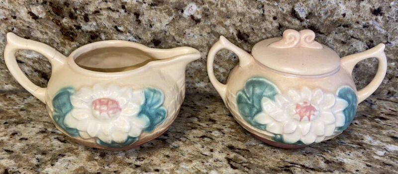 Vintage Hull Art Pottery Sugar And Creamer Floral Cream Green Pink