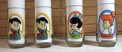 Lot of 4 Pizza Hut Flintstones Tumblers/Glasses, VGC, Fred Wilma Betty 1986