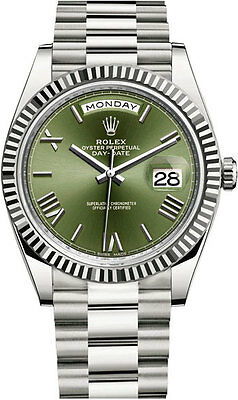 Rolex Day-Date President 40mm 18kt White Gold Olive Green Dial Mens Watch 228239