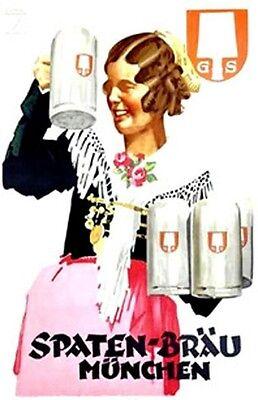 """Nice Vintage German Beer Poster """"Spaten-Brau Munich"""""""