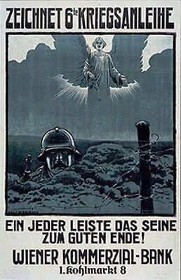 Vintage Austrian War 6Th  Loan Poster Ww 1  Angel