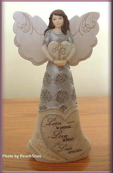 Love 6 Inch Angel Figurine Holding Heart By Pavilion Elements Free U.s. Shipping