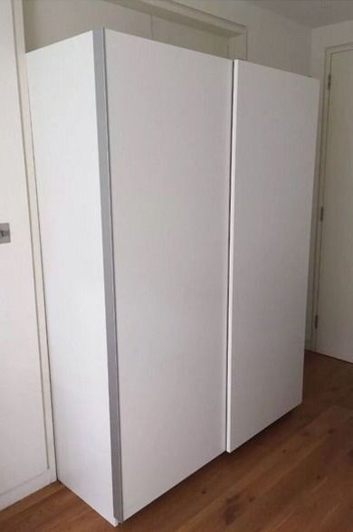 Good condition ikea wardrobe with hasvik sliding doors for Sliding glass doors gumtree