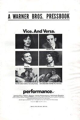 PERFORMANCE pressbook, James Fox, Mick Jagger (Rolling Stones), Anita Pallenberg