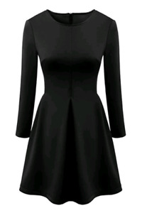 URGENT (WANTED) - Black Long Sleeve Fit and Flare Dress
