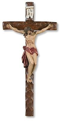 "TRADITIONAL LARGE 21-1/2"" HAND PAINTED CHURCH WALL CRUCIFIX INRI Jesus Cross"