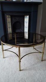 Gold / brass vintage hollywood regency style coffee table, smoked glass - £90 ONO