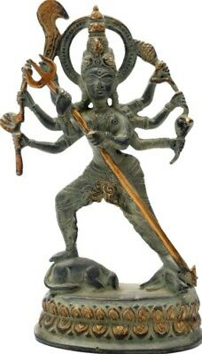 """Used, NICE God Standing Durga Avatar Jai Kali Statue 7.8""""Green Brass Hindu Figure 1 KG for sale  Shipping to United States"""