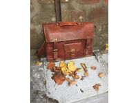 Large Brown Vintage Leather Satchel - Brand New