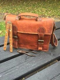 Brown Genuine Vintage Leather Satchel Medium Size- Brand New