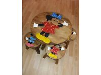 Minnie Mouse Oak Table and 4 stools