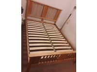 Quality wooden double bed frame. £100.00