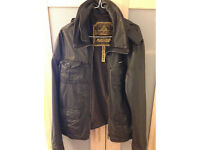 Superdry leather jacket XL brown