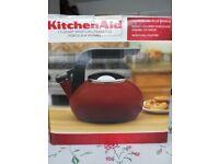 New KitchenAid 1.5 quart whistling teakettle, porcelain enamel
