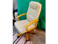 Beige Leather Executive Chair
