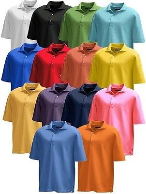 New Mens Greg Norman Pro Series Play Dry Micro Pique Solid Polo Golf Shirt   65