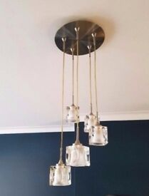 Glass cube & chrome light pendant, 5 drop metal glass ceiling light / light fittings (2 available)