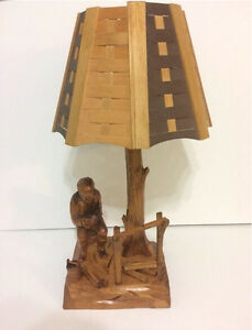 VINTAGE WOOD CARVED TABLE LAMP BY QUEBEC ARTISAN CARON Cornwall Ontario image 1