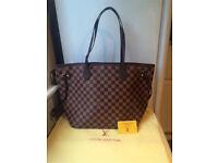 Louis Vuitton Neverfull Designer Bag Damier Handbag Pouch Pouchette Purse