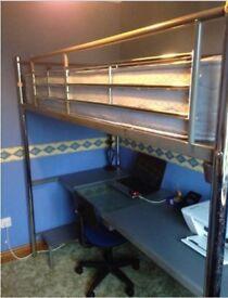 Single Bed Desk Metal - inc Mattress
