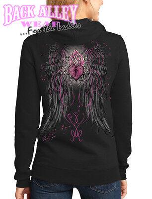 Ladies ANGEL WINGS w/ KEYHOLE HEART Lock Hooded Sweat Shirt Hoodie LOVE Angel Wings Hooded Sweatshirt