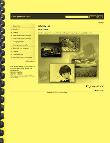 Sony Cyber-Shot DSC-RX100 Camera USER GUIDE