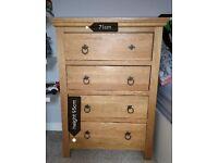 Oak and oak veneer Wardrobe and chest of drawers.