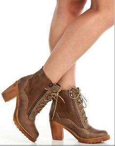Christina Lace-Up Heeled Booties in Taupe