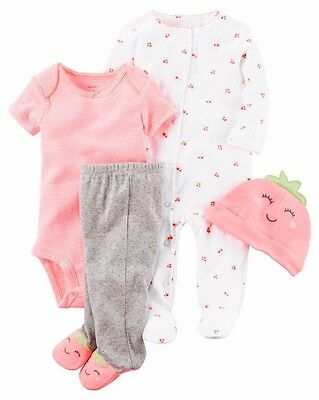 NEW CARTER'S 4-PC GIRLS COTTON BODYSUIT, ROMPER, PANT & HAT SET - SIZE 9M