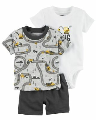 Carter's Infant Boys 3-Piece Short Set - I Dig Mommy NWT outfit construction