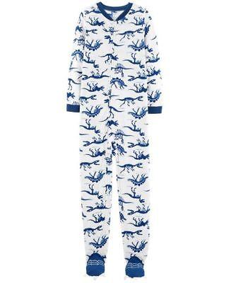 NWT Boys' Fleece Footed Sleeper Pajamas Blue Dinosaur Skeletons Print L 12 PJs - Boys Skeleton Pajamas