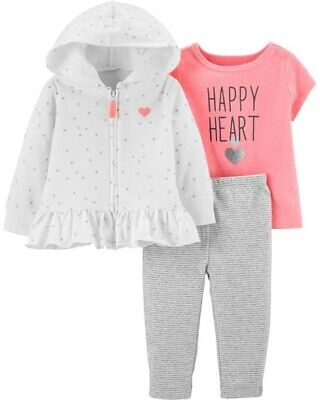 - Carter's Infant Girls 3-Piece Cardigan Set Pink & White 'Happy Heart' NWT outfit