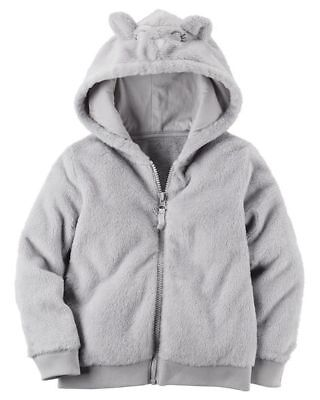 NWT Carters Girls' Sherpa Fleece Mouse Full Zip Hoodie Jacket GRAY Sizes 4 5 6