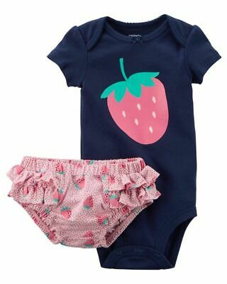 New Carters Strawberry Bodysuit & Diaper Cover Set 3 6 12 18 24 (Diaper Cover Set)