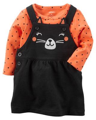 Carter's Baby Girl 2-Piece Cat Halloween Bodysuit & Jumper Set Size NB Newborn (Carter's Baby Girl Halloween)