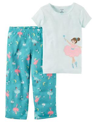 2 Piece Jersey Pjs (Carter's Girls 2-Piece Cotton & Jersey PJs - Blue Ballerina NWT Pajamas dance)