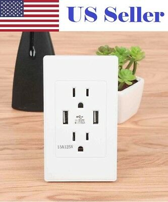 Best Quality High Speed Wall Dual USB Port Outlet Charger Receptacle AC Power