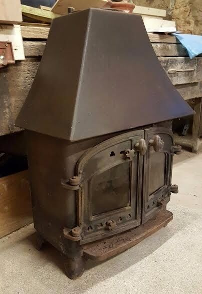 Used Wood Burning Stove With Cast Iron And Glass Panel