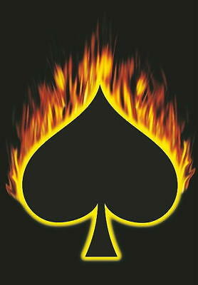 ACE OF SPADES / PIK AS FLAGGE / FAHNE FLAMES / FLAMMEN POSTER FLAG - Post Pik