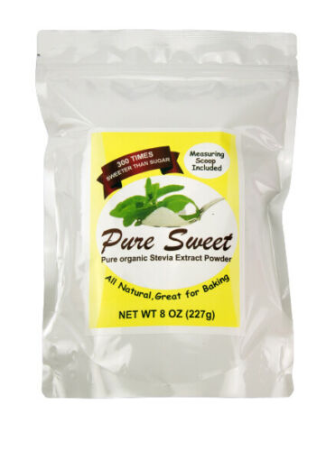 PURE ORGANIC STEVIA EXTRACT POWDER 1 TO16 OZ, NO FILLERS, MICRO SCOOP INCLUDED
